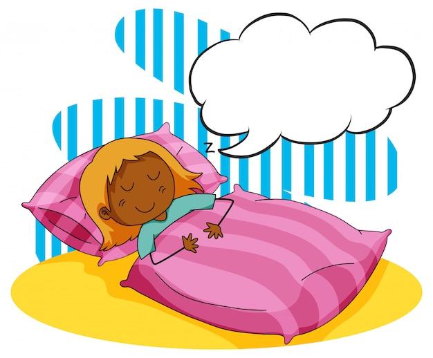 Menina dormindo na cama Vetor grátis