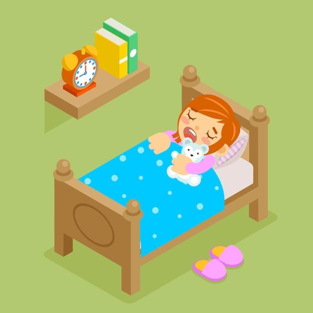 Menina dormindo ursinho de pelúcia. quarto confortável 3d isométrico, hora de dormir do resto. Vetor grátis