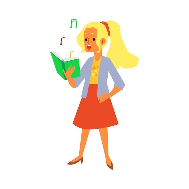 Menina dos desenhos animados cantando enquanto olha para o livro com notas musicais - cantora cantando uma música e sorrindo. ilustração em fundo branco. Vetor Premium