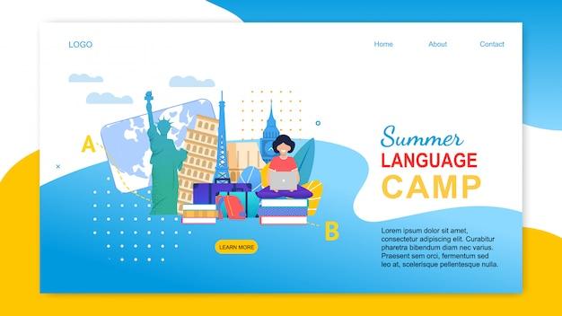 Menina dos desenhos animados com notebook aprender línguas no exterior página de destino Vetor Premium