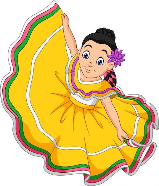 Menina dos desenhos animados dançando, celebração de cinco de mayo Vetor Premium