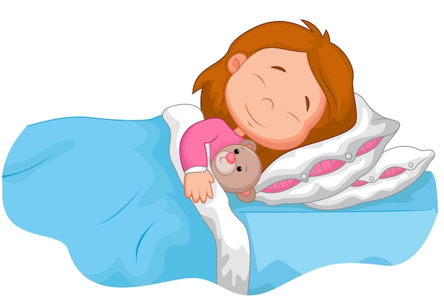 Menina dos desenhos animados, dormindo com urso de pelúcia Vetor Premium
