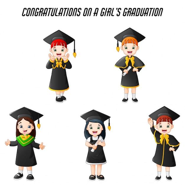 Menina dos desenhos animados em trajes de formatura com conjunto de poses diferentes Vetor Premium