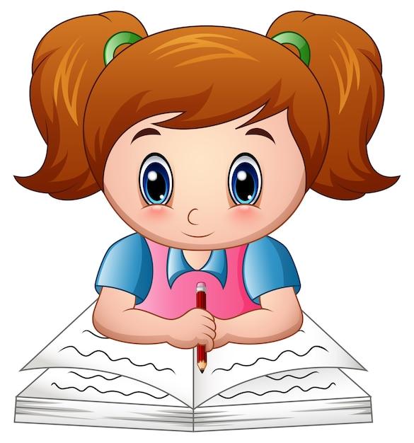 Menina Dos Desenhos Animados Lendo Um Livro Vetor Premium