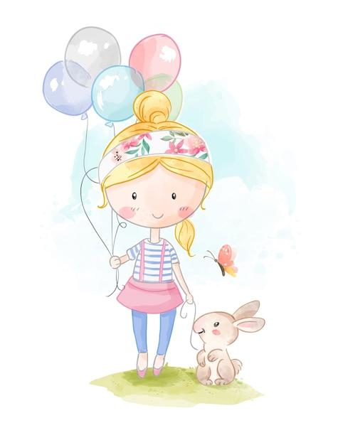 Menina dos desenhos animados, segurando balões e ilustração de coelho Vetor Premium