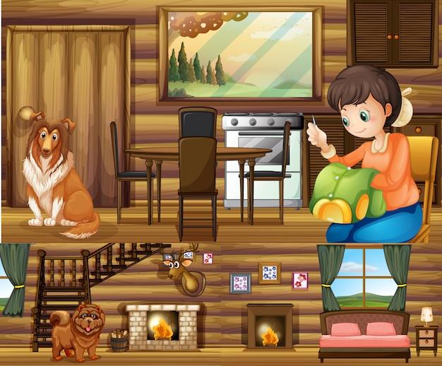 Menina e cachorros em diferentes cômodos da casa Vetor grátis
