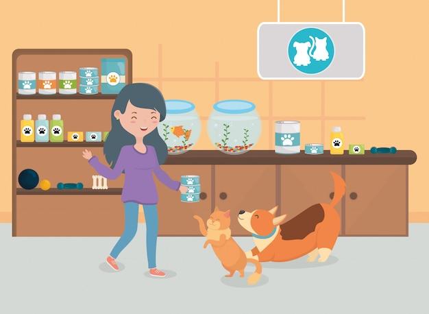 Menina e gato comida de cachorro sala veterinário Vetor Premium