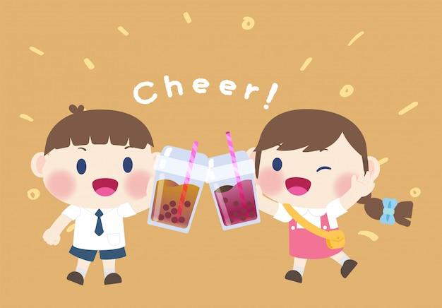 Menina e menino bonito feliz bebem bebida boba chá Vetor Premium