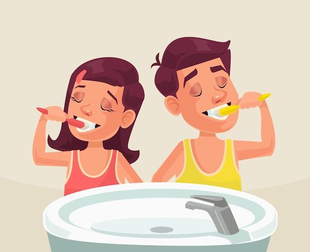 Menina e menino escovando os dentes. Vetor Premium