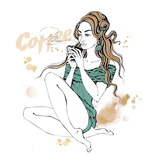 Menina elegante com uma ilustração de xícara de café Vetor Premium