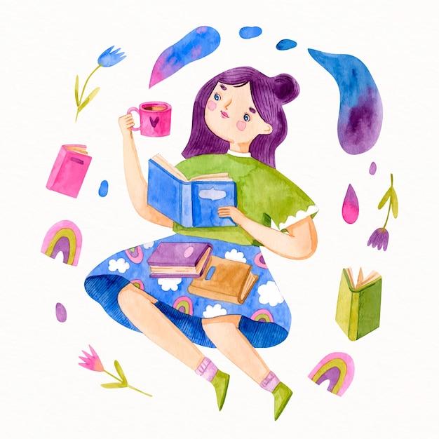 Menina em aquarela com cabelo violeta lendo Vetor grátis