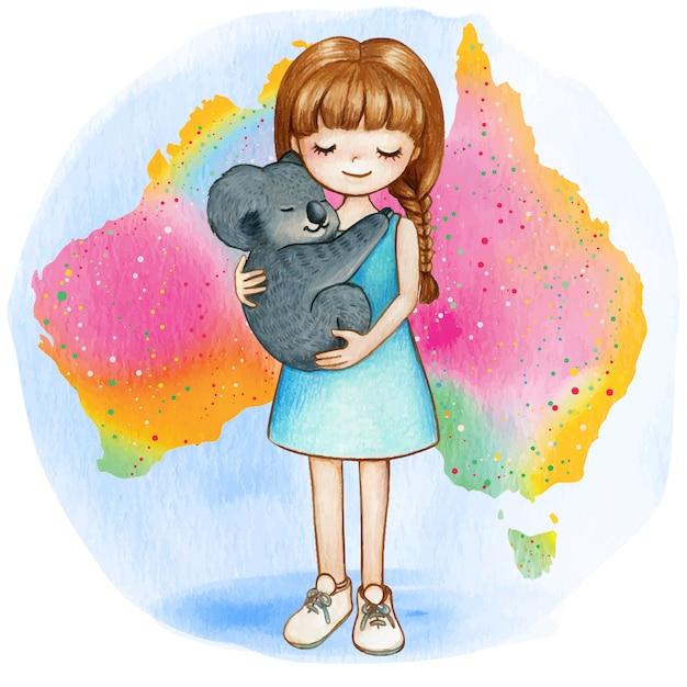 Menina em aquarela com coala no mapa do arco-íris australiano Vetor Premium