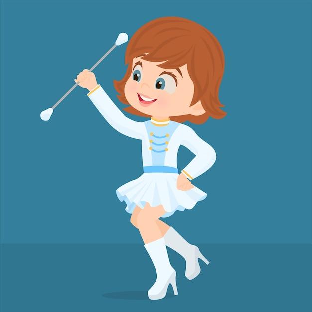 Menina, em, um, majorette, uniforme, tocando, com, dela, batuta Vetor Premium
