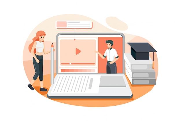 Menina fazendo exercícios sob a orientação de professores online. Vetor Premium