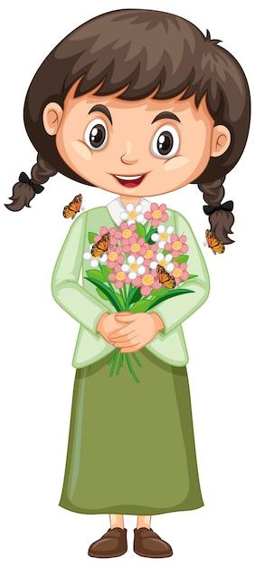 Menina feliz com flores em branco Vetor grátis