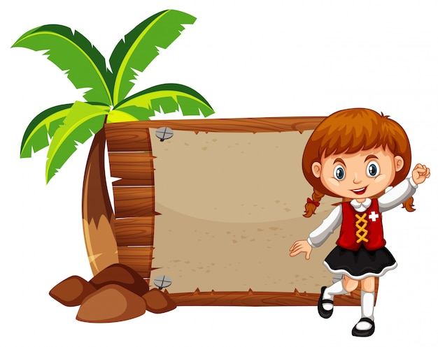Menina feliz e placa de madeira Vetor grátis