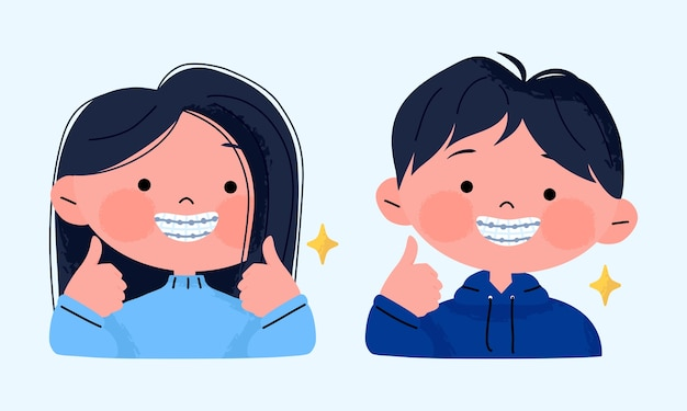 Menina feliz e sorridente com aparelho dentário e mostrando os polegares para cima. Vetor Premium