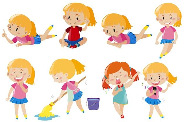Menina feliz fazendo atividades diferentes Vetor grátis