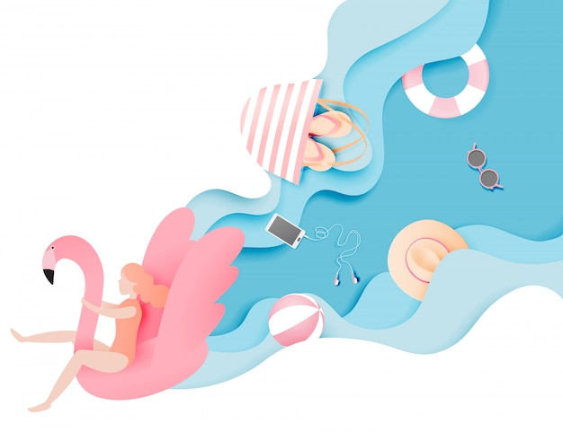 Menina flutuando na praia com flamingo com papel de fundo bonito do mar cortar ilustração vetorial de estilo Vetor Premium