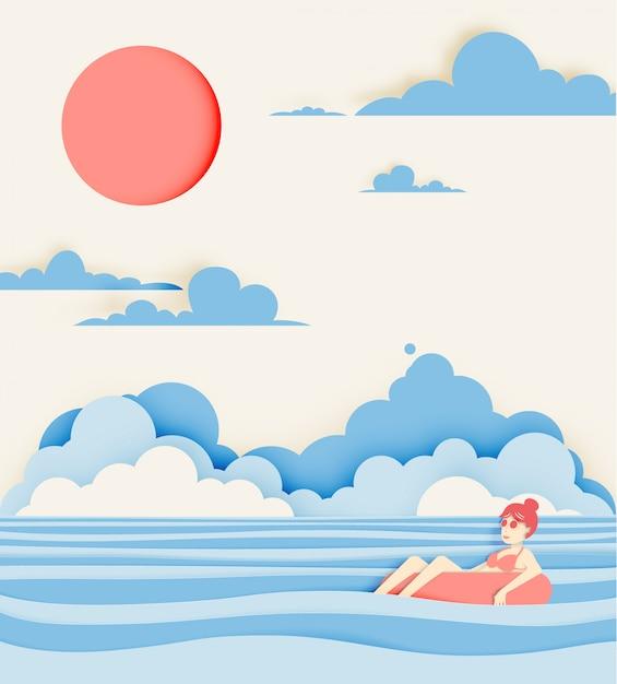 Menina flutuando na praia com o estilo de corte de papel de fundo lindo mar Vetor Premium