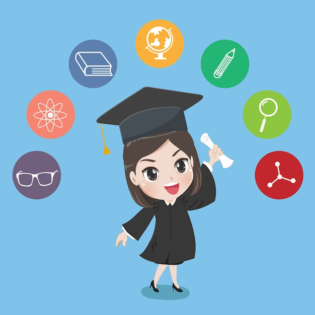 Menina graduada Vetor Premium