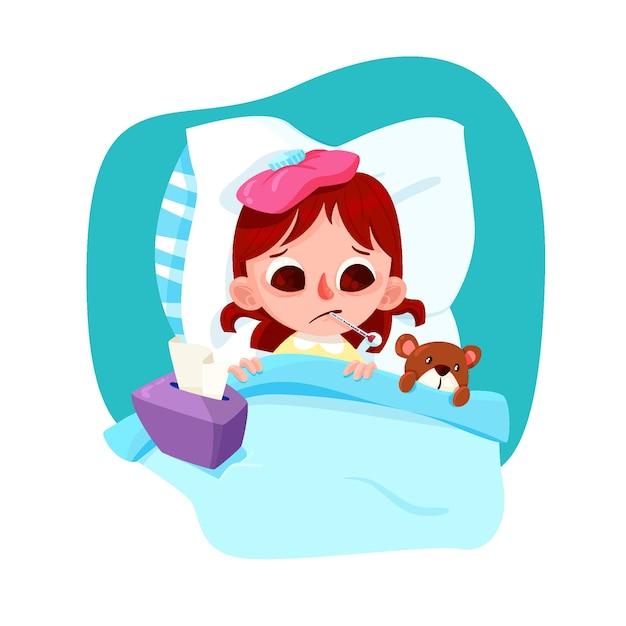 Menina ilustrada com um resfriado Vetor grátis