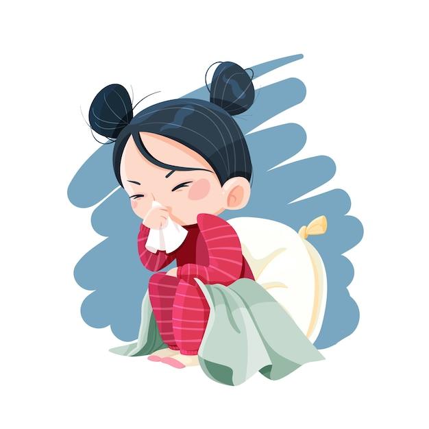 Menina ilustrada com um resfriado Vetor Premium