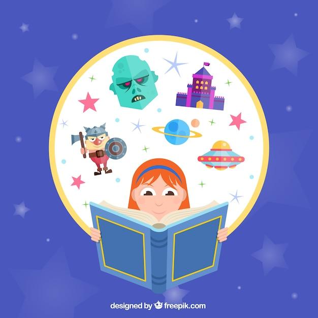 Menina imaginativa lendo um livro Vetor grátis
