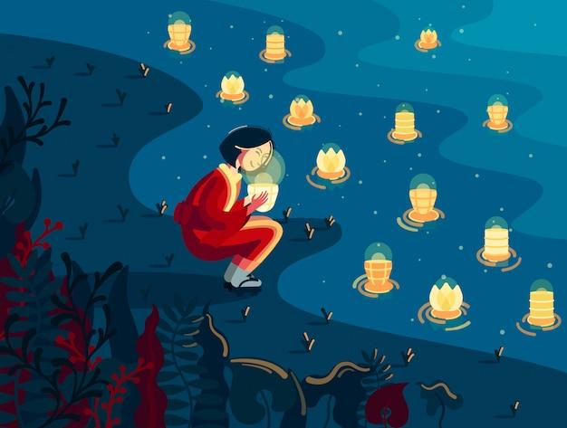 Menina japonesa no quimono detém lanterna brilhante nas proximidades do rio à noite Vetor Premium