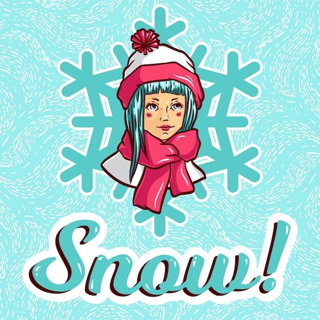 Menina jovem, em, roupas inverno Vetor Premium