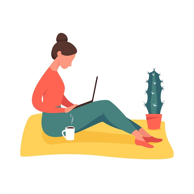 Menina jovem, sentar chão, com, laptop Vetor Premium
