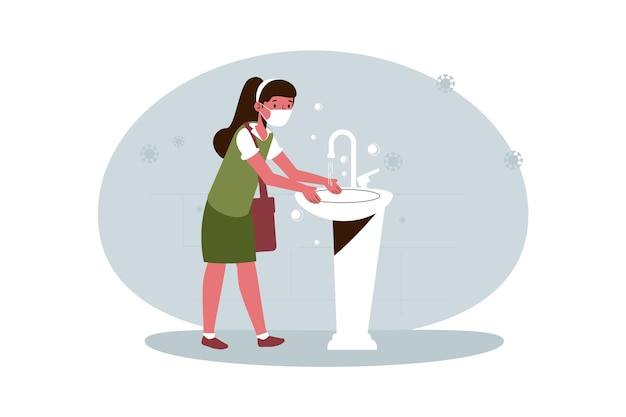 Menina lavando as mãos na escola Vetor grátis