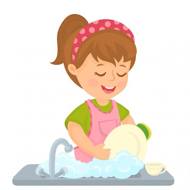 Menina lavando pratos Vetor Premium