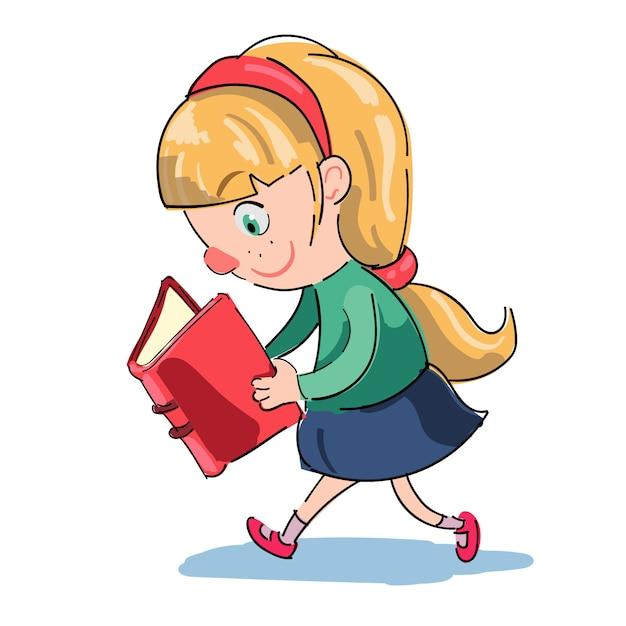 Menina, leitura, enquanto, andar Vetor grátis