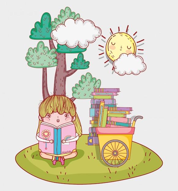 Menina ler livro de literatura com carrinho de mão Vetor Premium
