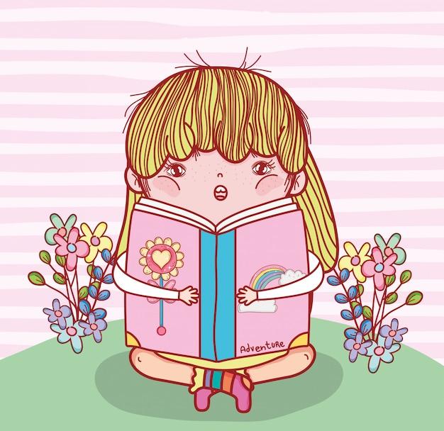 Menina, ler, livro, literatura, com, plantas Vetor Premium
