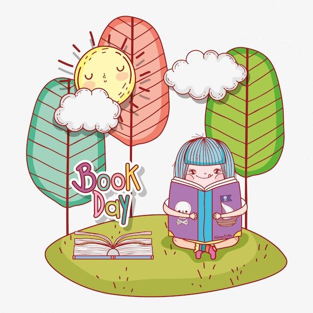 Menina ler livros com sol e árvores Vetor Premium