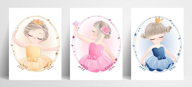 Menina linda bailarina com ilustração em aquarela Vetor Premium