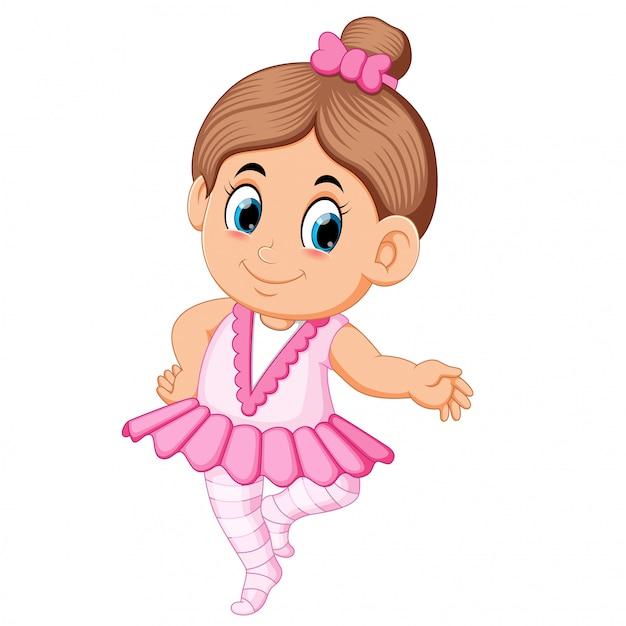 Menina linda bailarina no vestido rosa dançando Vetor Premium