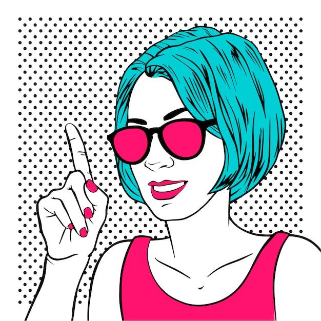 Menina linda mulher com o dedo indicador e óculos de sol Vetor Premium