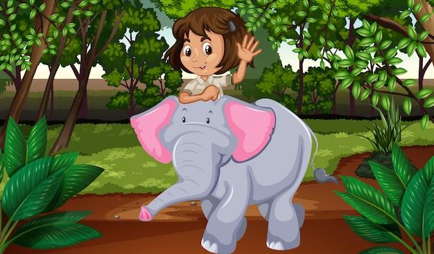 Menina, montando, elefante, através, selva Vetor Premium