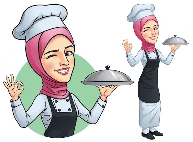 Menina muçulmana chef com hjab Vetor Premium