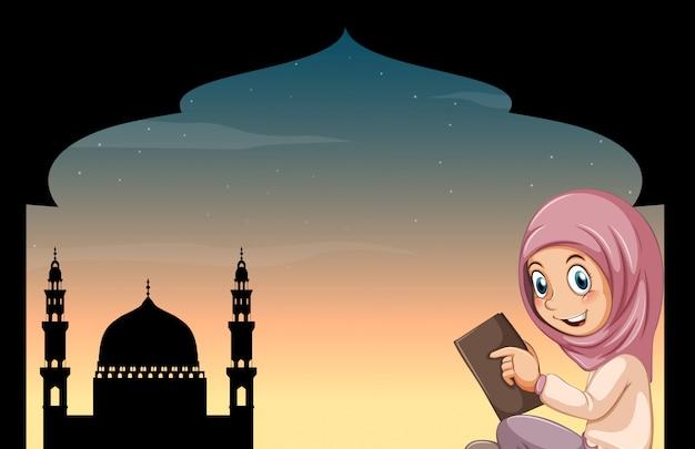 Menina muçulmana, com, mesquita Vetor grátis