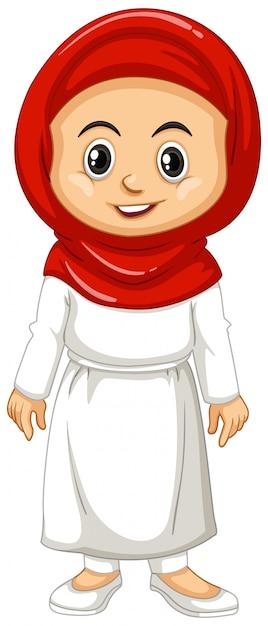 Menina muçulmana em roupas vermelhas e brancas Vetor grátis