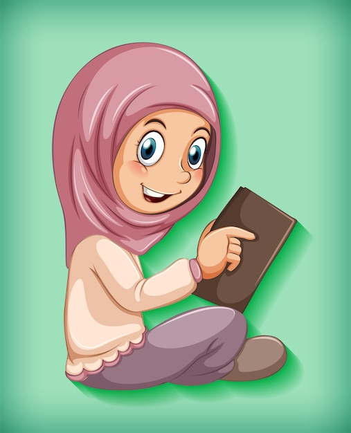 Menina muçulmana lendo o livro Vetor grátis