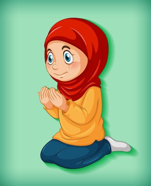 Menina muçulmana pratica religião Vetor grátis