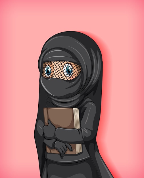Menina muçulmana segurando livro Vetor grátis