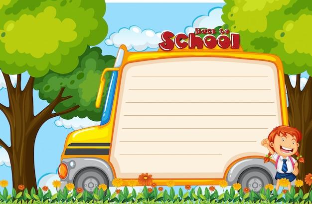 Menina na nota de ônibus escolar Vetor grátis