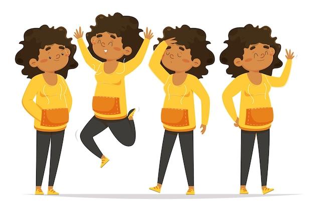Menina negra em diferentes poses Vetor grátis