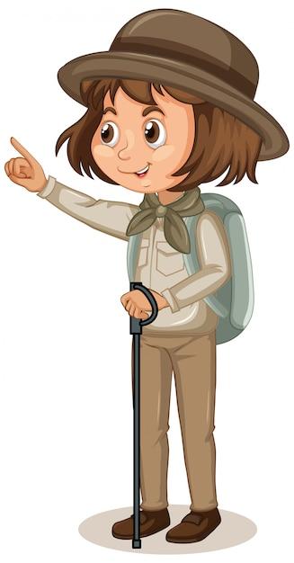 Menina no escuteiro uniforme isolado Vetor grátis